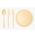 disposable wooden tableware realistic set vector image vector image
