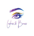 eyelashes and eyebrows make up design logo vector image vector image