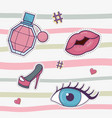 fragrance lips eye and high heel shoe decoration vector image vector image
