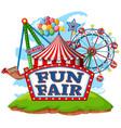 fun fair theme park on isolated background vector image vector image