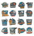 galaxy and space discovery icons emblems vector image vector image