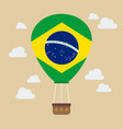 hot air balloon with brazil flag vector image vector image
