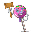 judge lollipop with sprinkles mascot cartoon vector image vector image