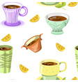 lemon drink tea beverage in mug and citrus slices vector image