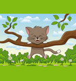 little cat is playing on a branch vector image