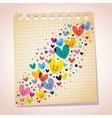 love hearts note paper cartoon vector image vector image
