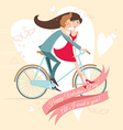 Loving couple on the bicycle Valentines day vector image vector image