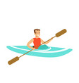 male athlete character maneuvering kayaking vector image