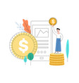 man standing at coins column with golden vector image vector image