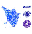mosaic map of tuscany region with gears and rubber vector image vector image