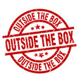 outside the box round red grunge stamp vector image vector image