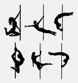 Pole dancer female silhouettes vector image vector image