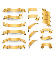 realistic gold glossy ribbons vector image vector image