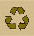recycle symbol on cardboard vector image vector image