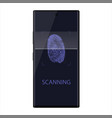 scanning fingerprint on smartphone unlock mobile vector image