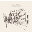 sepia hand drawing of Cetinje street - ancient vector image vector image