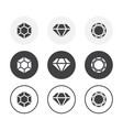 set 3 simple design diamond icons rounded vector image