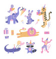 set birthday party themed jungle zoo or safari vector image vector image