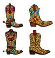 set cowboy boot with floral pattern design vector image