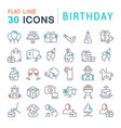 set line icons birthday vector image