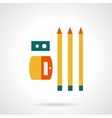 Sharpener with pencils flat color icon vector image vector image