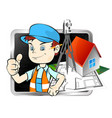 surveyor with a tool vector image