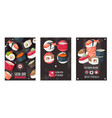 sushi bar advertisement banners vector image