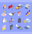 taxes accounting isometric icons vector image vector image