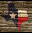texas tx state flag map on rustic old wood wall vector image vector image