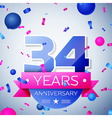 Thirty four years anniversary celebration on grey vector image vector image
