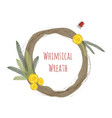 whimsical wedding wreath with flowers and bugs vector image vector image
