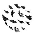 wings icons set black simple style vector image