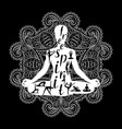 yoga meditation silhouette black and white vector image vector image