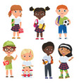 cute pupils boys and girls school kids vector image