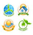 save energy solar wind eco power symbol set vector image