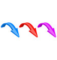 3d colored arrows down shiny icons vector image