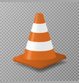 3d traffic cone with white and orange stripes vector image
