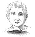 a face a boy vintage engraving vector image vector image