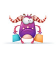 cartoon monster characters shopping vector image vector image