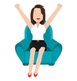 cheerful woman and blue seat graphic vector image