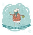 Christmas and New Year greeting card with sheep vector image vector image