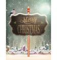 Christmas vintage greeting card on winter village vector image