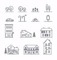 city in linear style icons and with buildings vector image