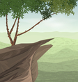 Cliff and tree vector image vector image