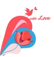 Colorful bird in love vector image vector image