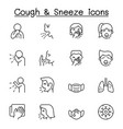 cough sneeze icons set in thin line style vector image