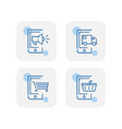 creative blue mobile phone e commerce icons design vector image vector image