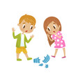 cute little girl and boy broken a vase hoodlum vector image