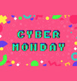 cyber monday pixel art style promotion banner vector image vector image