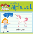 Flashcard alphabet U is for unicorn vector image